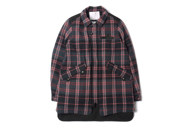 White Mountaineering Wool Tweed Check Soutien Collar Jacket