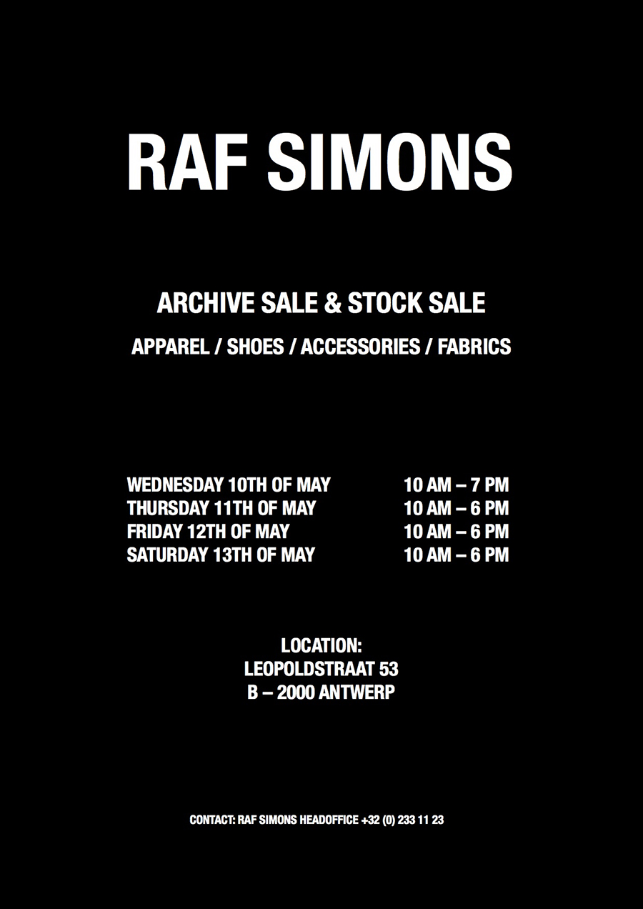 stock up on grails at this raf simons sample sale. Black Bedroom Furniture Sets. Home Design Ideas