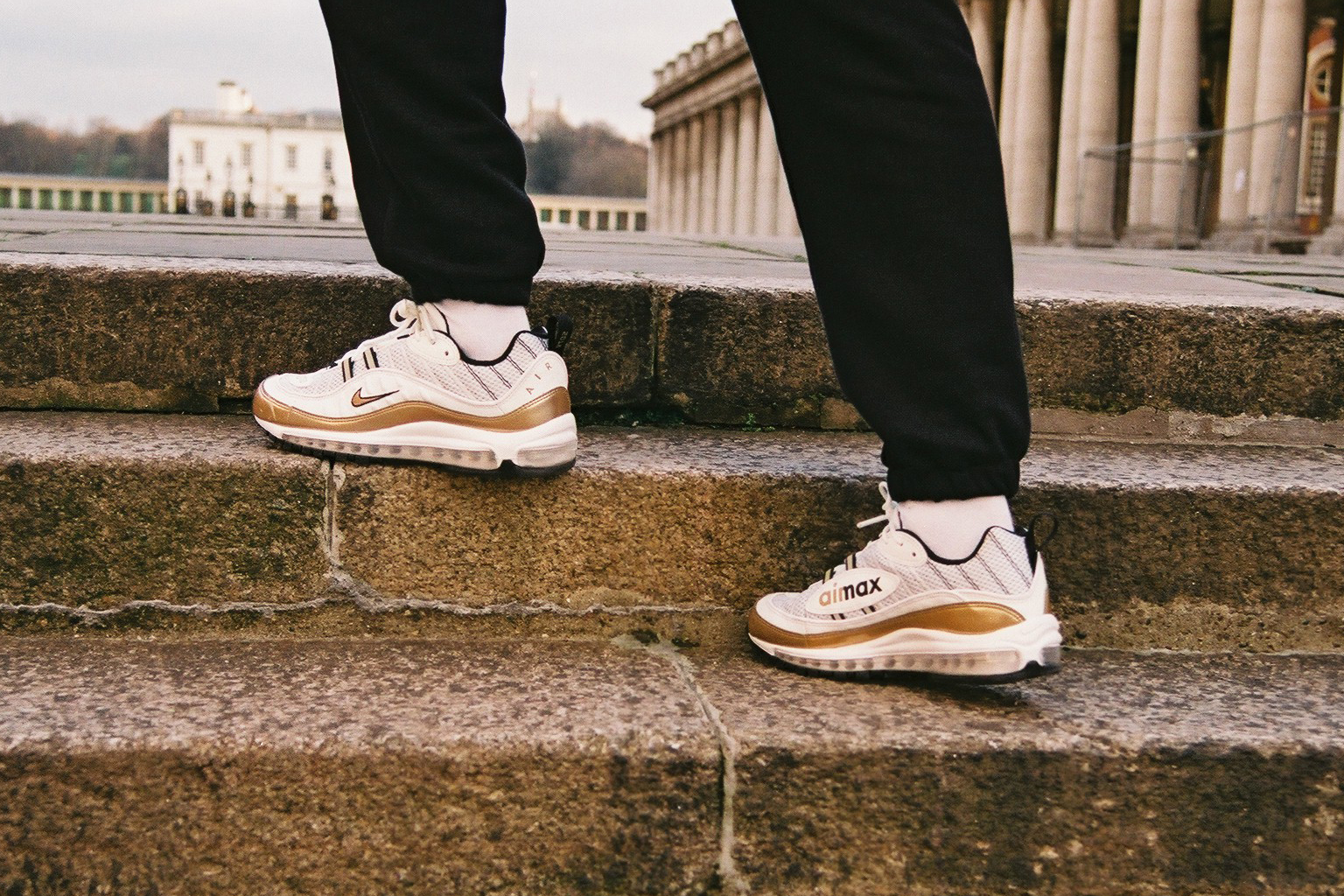 a428d3d44a0c5 Nike GMT Pack UK Exclusive Air Max 98 Air Zoom Spiridon White Gold Colorway  White