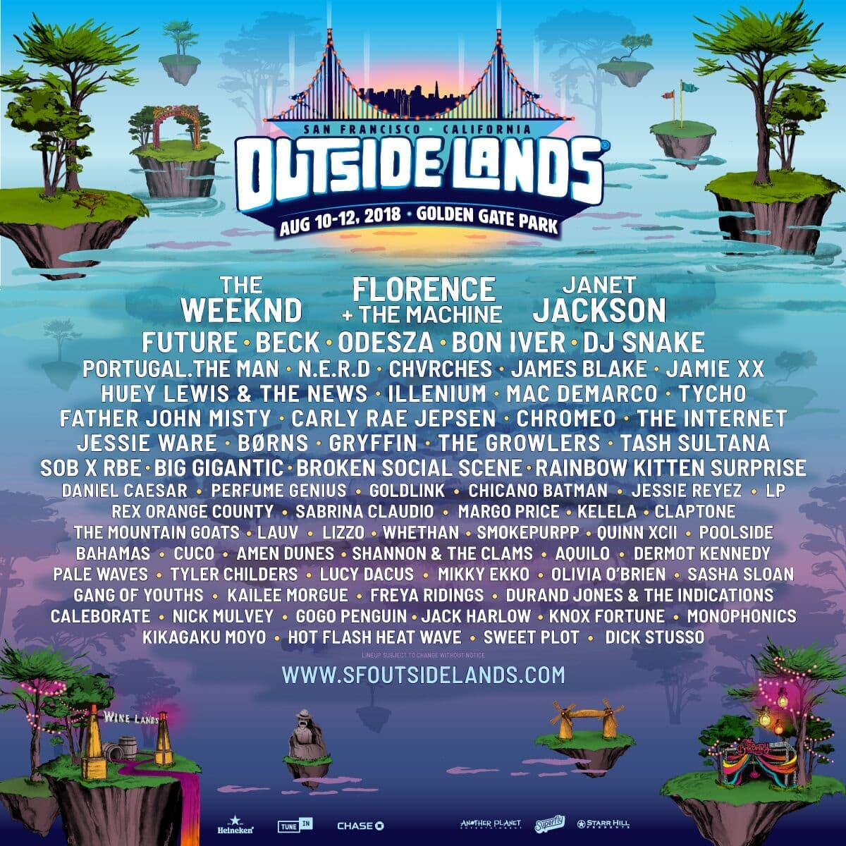 Outside Lands 2018 Lineup The Weeknd Future Janet Jackson bon iver portugal the man nerd pharrell mac demarco august 10 11 12 2018 san francisco golden gate park california
