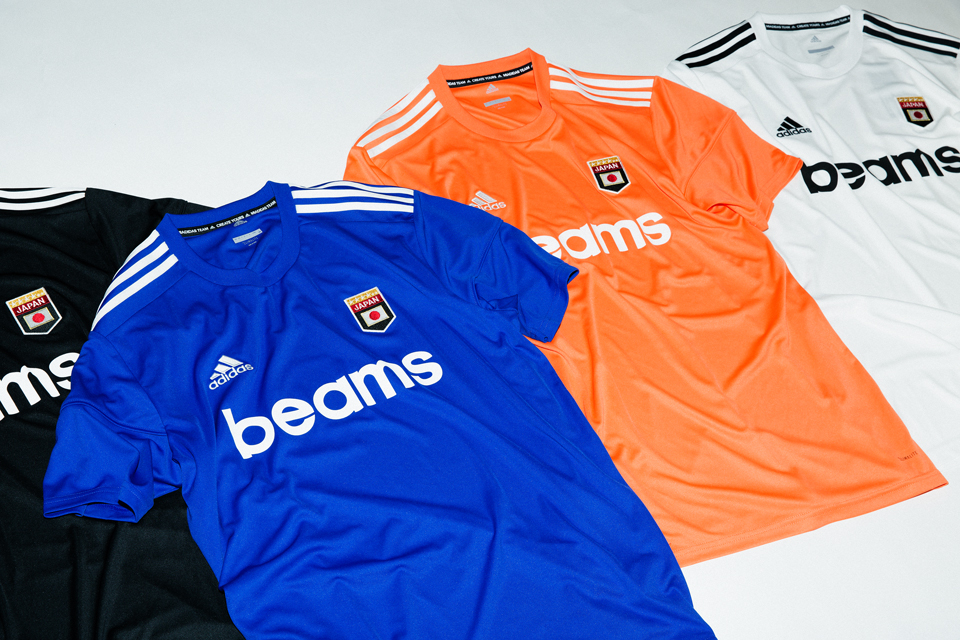BEAMS adidas football Soccer Jerseys white blue black orange june 14 2018 release date info drop collaboration orange blue white black