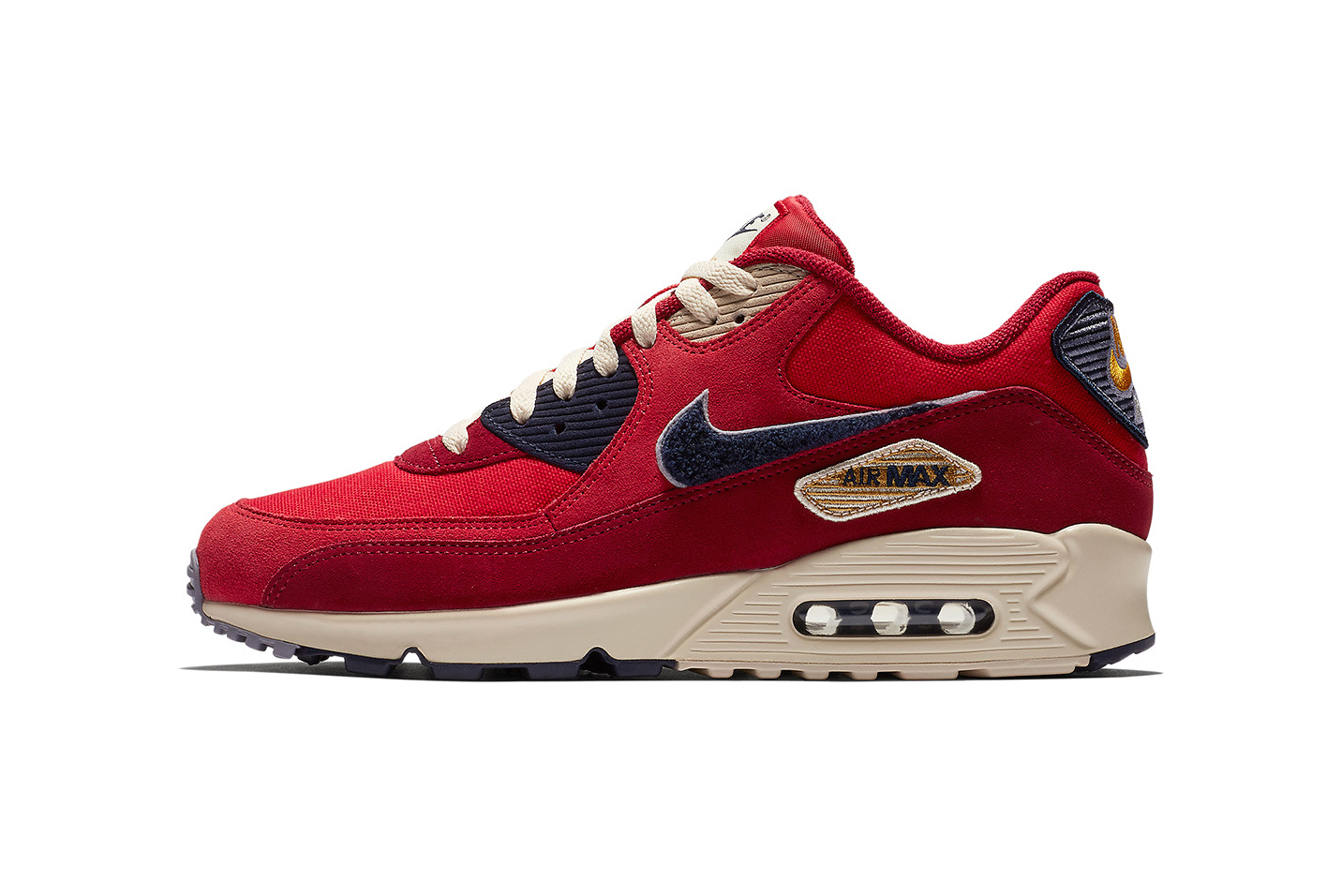 Nike Air Max 90 Chenille swoosh Red Navy colorway drop info release spring summer 2018