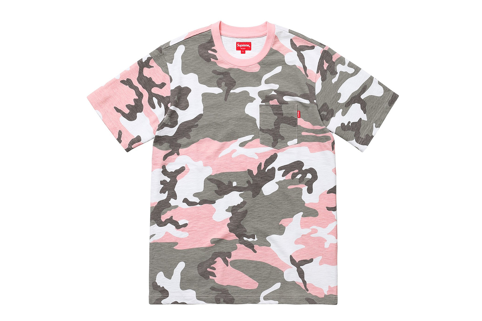 Supreme Unexpected Pink Camo Pocket Tee Sold Out All Cotton Slub Jersey Crewneck Chest Pocket Logo Spring/Sumer 2018 Soho London
