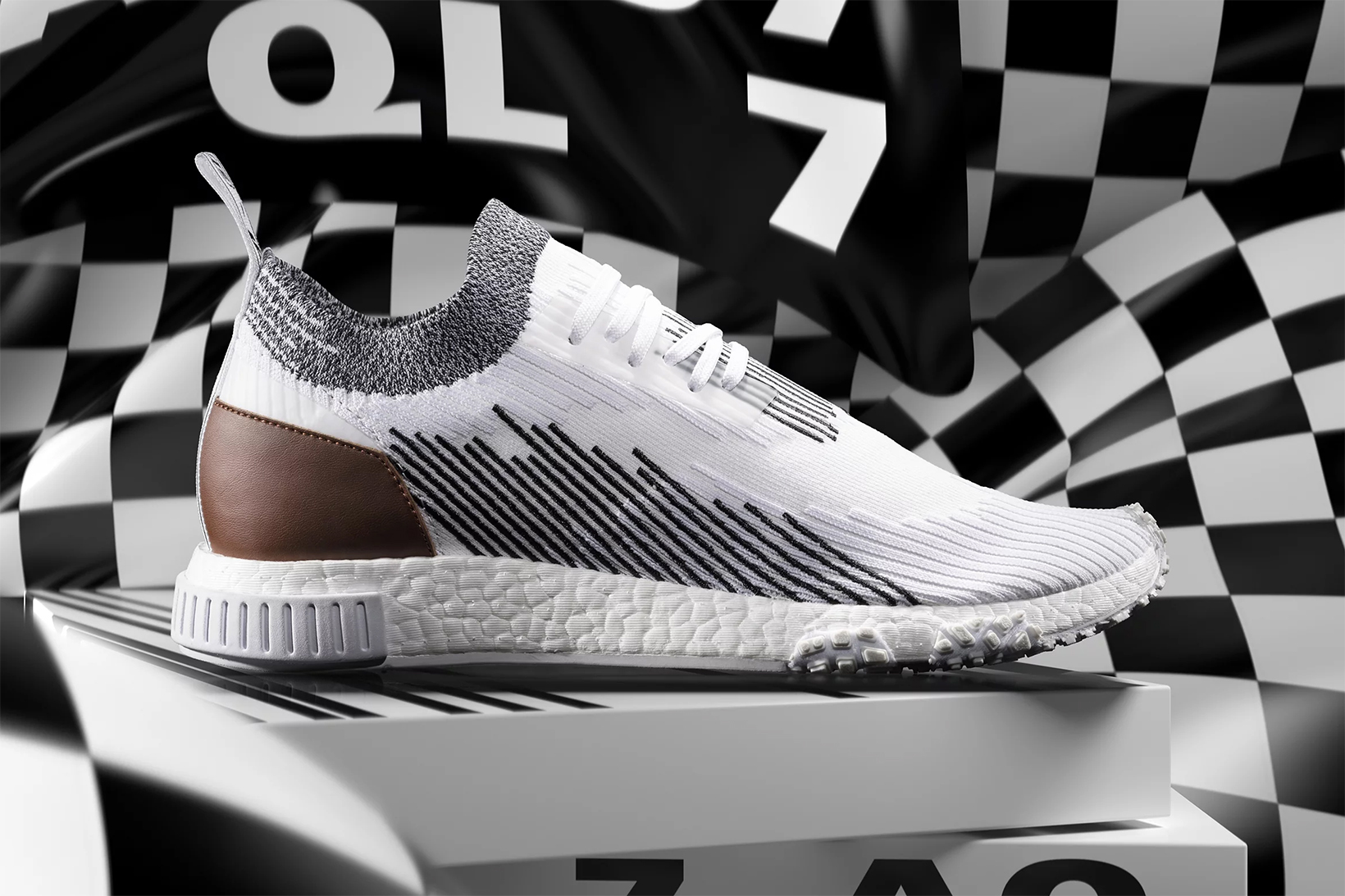 adidas Originals NMD Racer Leather Release Date Whitaker Car Club Heel Tab Black White Stripes Monochrome END. Information Details