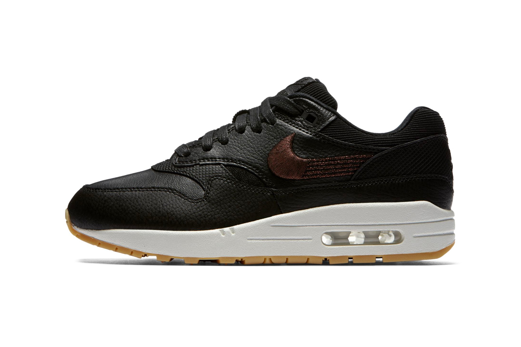 Nike Air Max 1 Premium Black Leather Bronze embroidery release date price sneaker