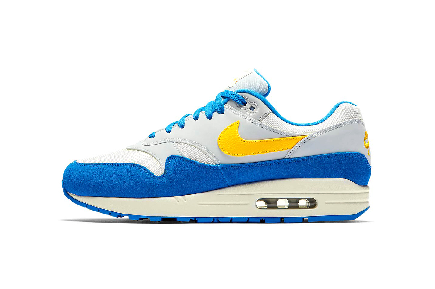 Nike Air Max 1 Sail Amarillo Pure Platinum Signal Blue july 2018 release date info drop sneakers shoes footwear