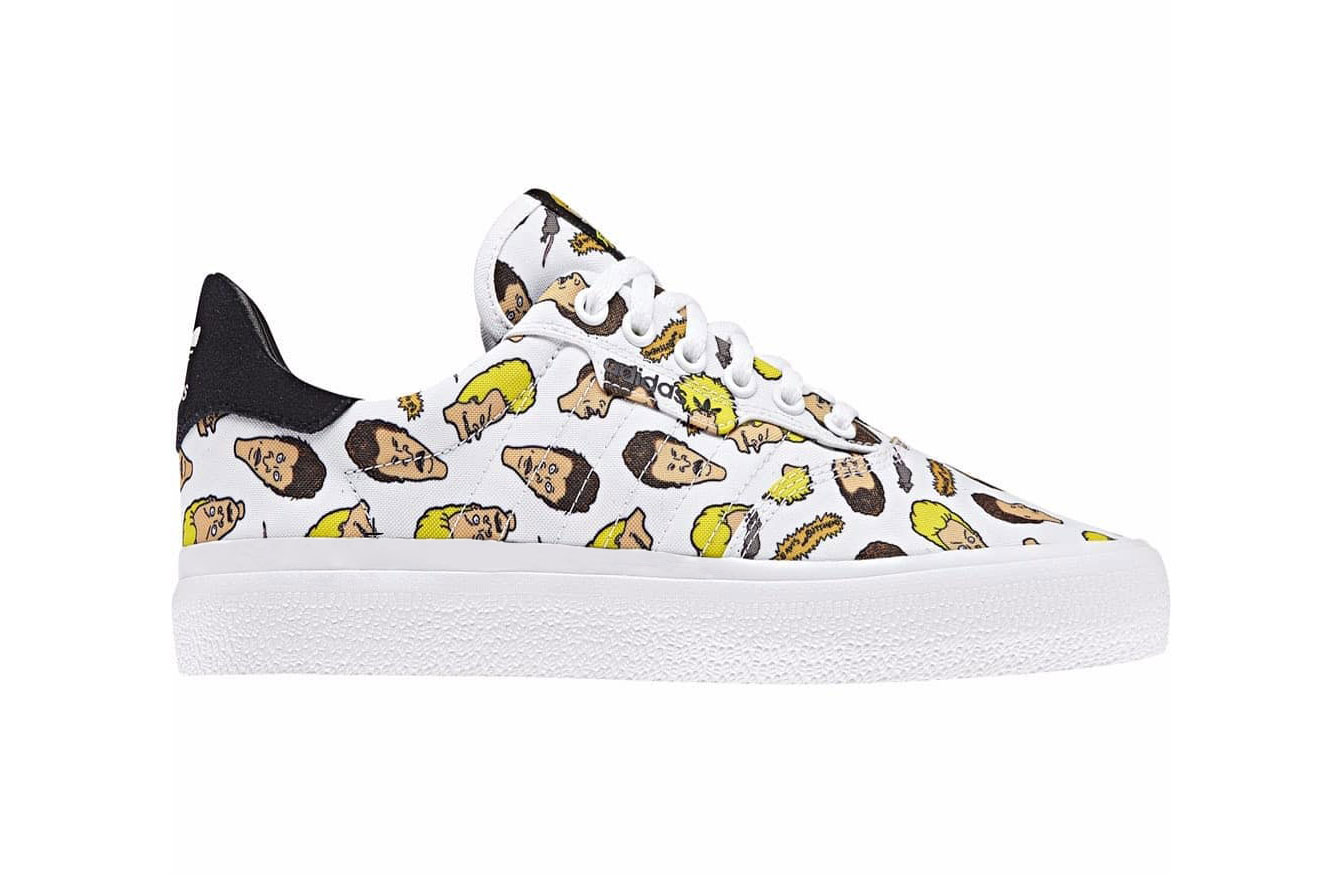 beavis and butt head adidas originals collaboration november 2018 white low top sneaker head graphic print black