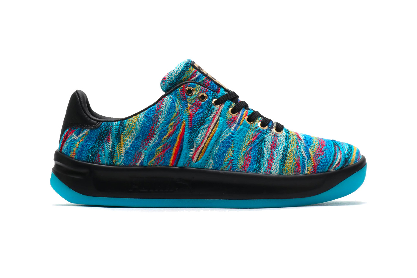 COOGI x PUMA California Sneaker Leadcat Slide blue atoll multi knit release collaboration sneaker price purchase available now buy online