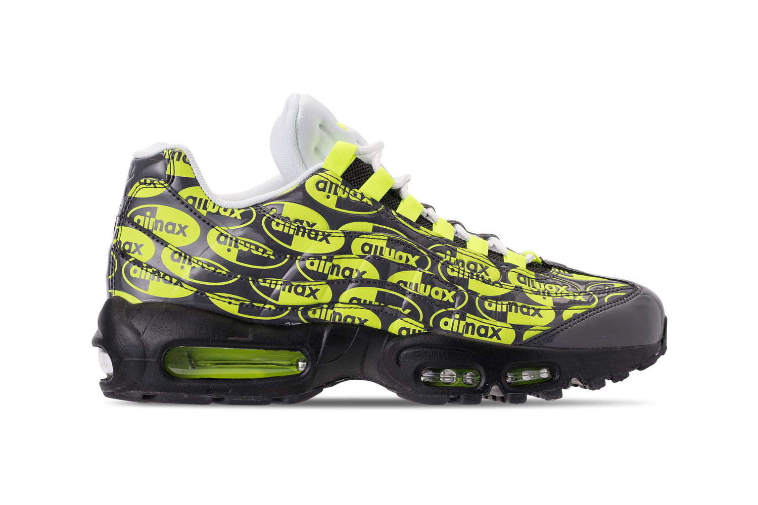 new styles bb49a 54640 Nike Air Max 95 All over Logo Print volt premium colorway black drop  release date info