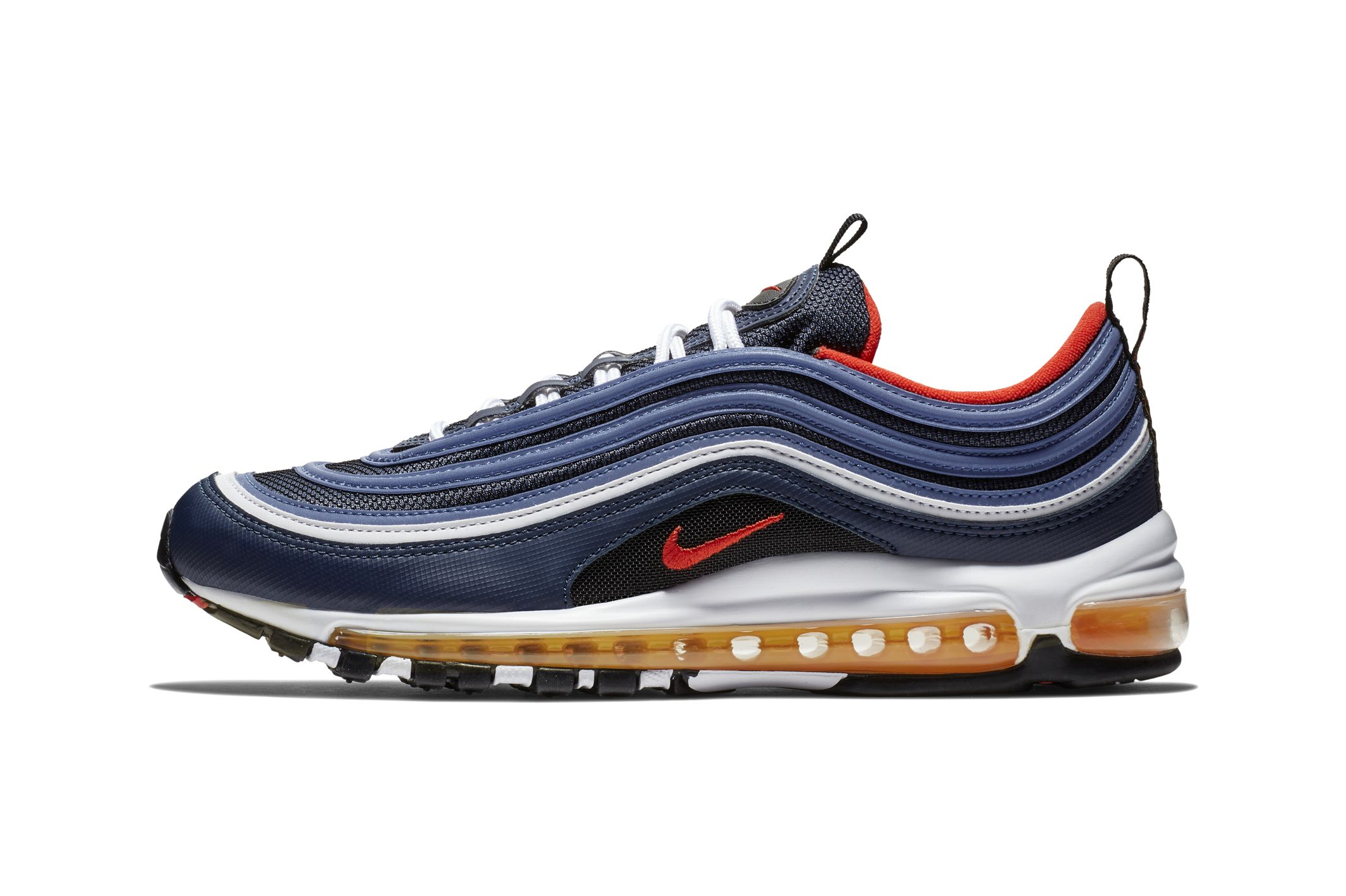 Nike Air Max 97 Midnight Navy Habanero Red Hypebeast Drops