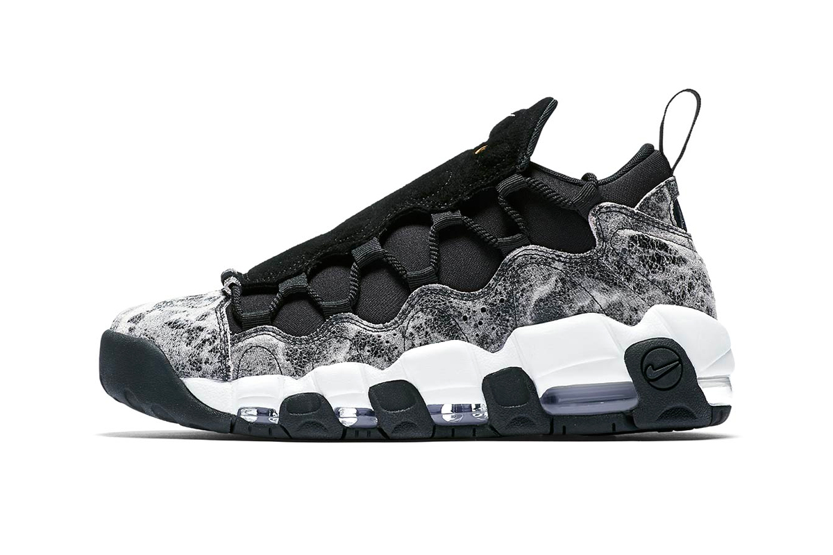 nike air more money lx 2018 august nike sportswear footwear Black crinkled Leather Suede