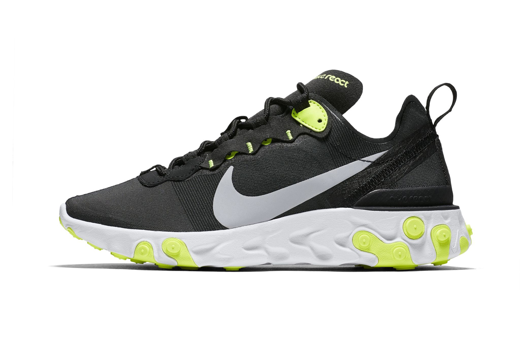 nike react element 55 first look colorways Black Cool Grey White Volt