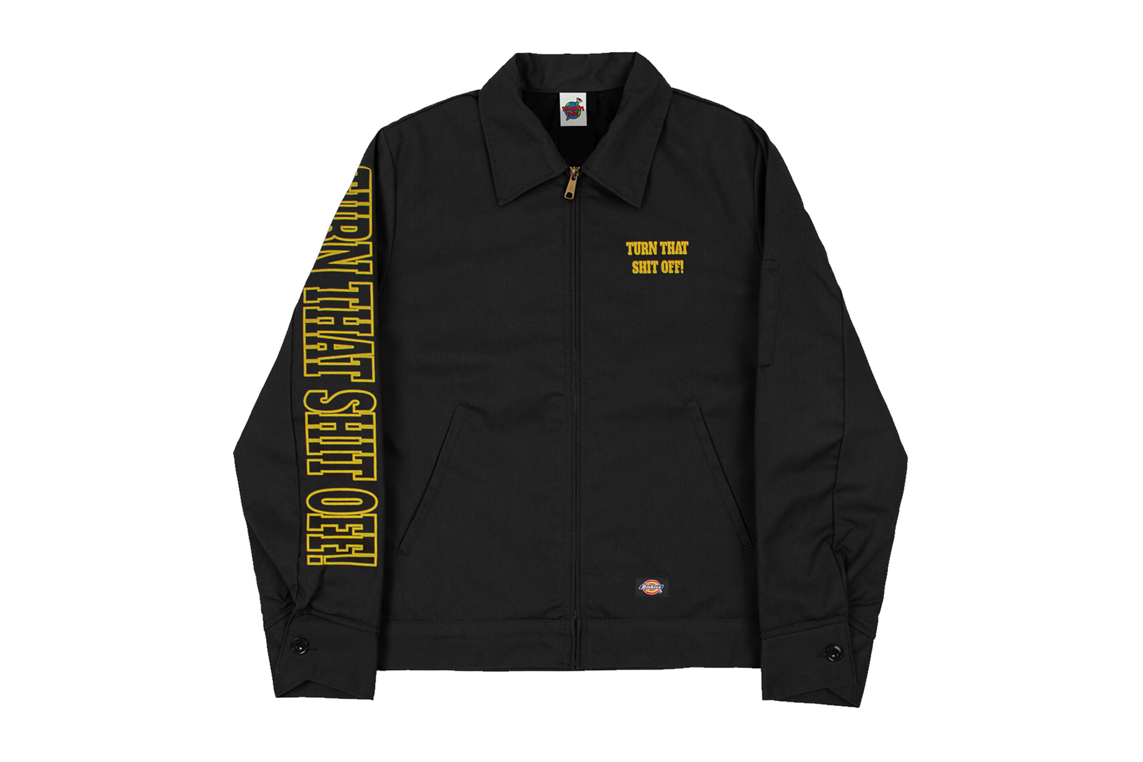 spaghetti boys TURN THAT SHiT OFF capsule collection earplugs champion sweat shorts hoodie dickes work jacket coverall tee shirt print graphic drop release buy purchase black