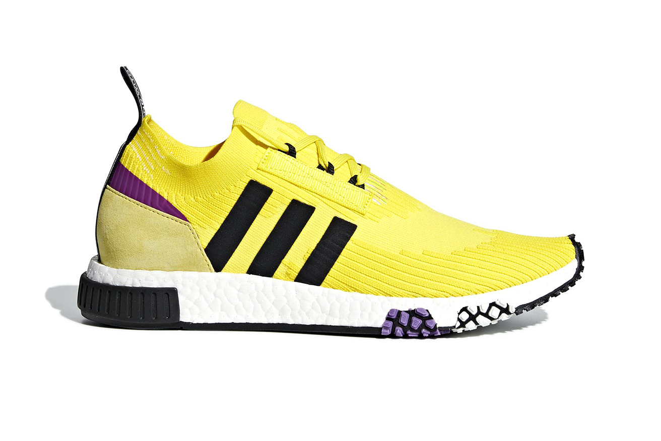 adidas NMD Lakers Colorway Release Date October 2018 yellow purple primeknit nba price 100 usd retail closer look B37641
