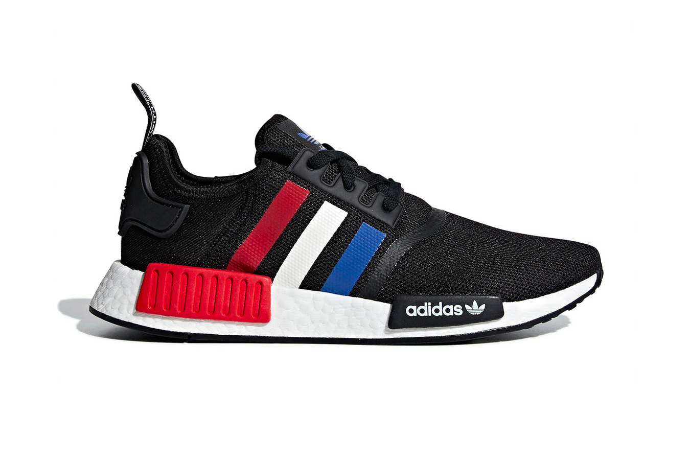 adidas NMD R1 black red white blue release info sneakers