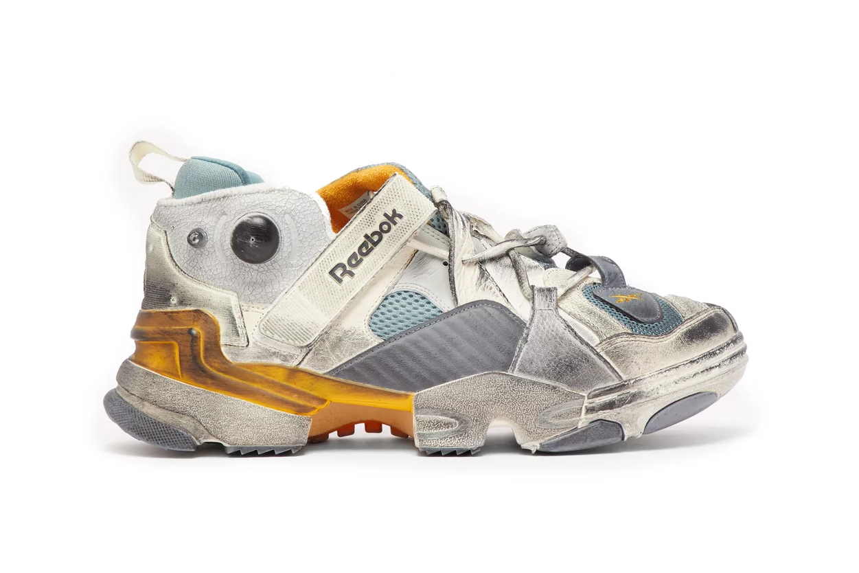 Vetements Reebok Genetically Modified Trainer matchesfashion.com release info white yellow blue collaborations demna gvasalia