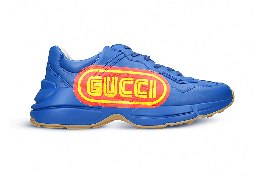 Gucci Rhyton Sneaker SEGA Blue Release Red Yellow Fall Winter 2018  Alessandro Michele Logo Leather 8dbcc2dd2