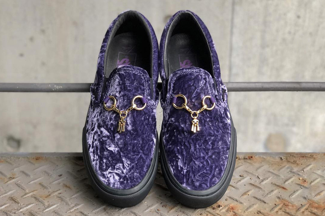needles vans vault slip on velvet gold bit tassle blue green gold black black midsole collaboration drop release date info nepenthes october 13 2018 japan osaka
