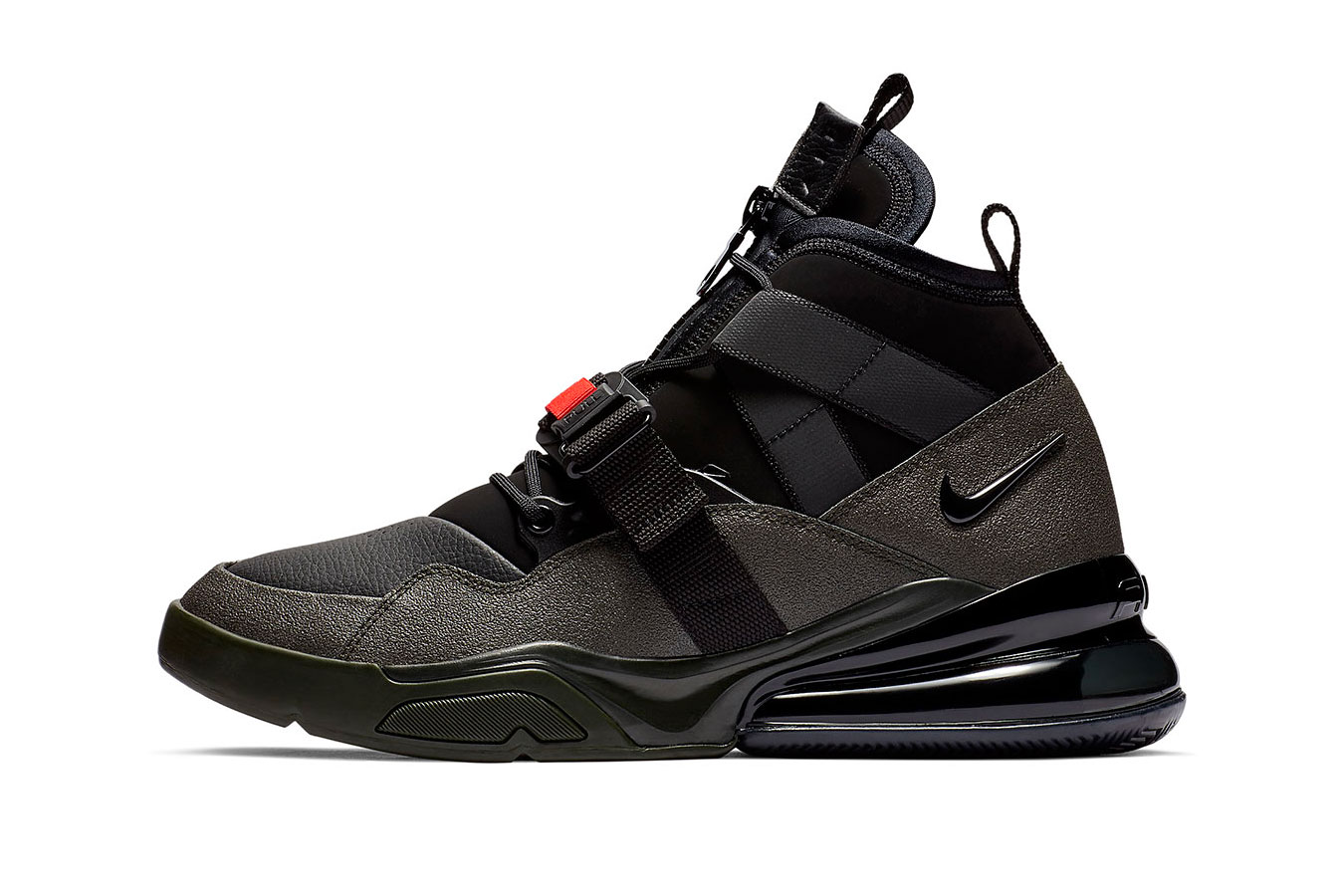 "Nike Air Force 270 Utility ""Sequoia/Habanero Red"" release date info sneaker colorway november 2018 price black red"