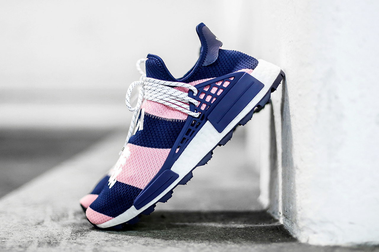Pharrell Williams x adidas Originals NMD Hu BBC Billionaire Boys Club Closer Look Pink Purple Colorway London New York Exclusive $250 USD Cop Purchase Buy Kicks Sneakers Trainers Shoes Footwear
