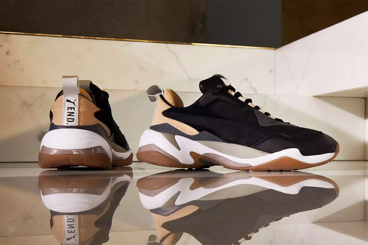 Puma x END. Thunder Shadow Rise Sneaker Details Shoes Trainers Kicks Sneakers Cop Purchase Buy Footwear Raffle Open Now Exclusive Collab Collaboration Collaborative Design