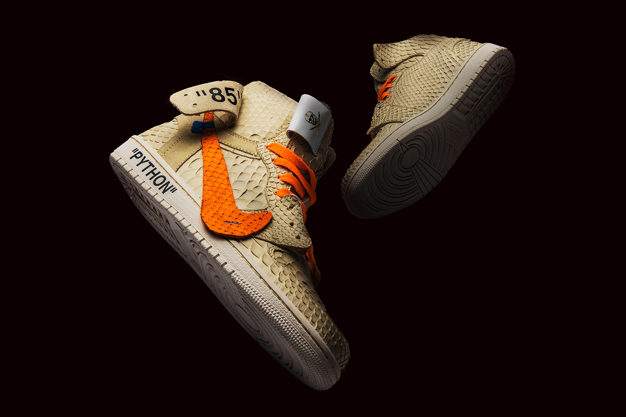 The Shoe Surgeon Air Jordan 1 All Hallow's Eve Halloween off-White Virgil Abloh Python Custom Nike Jordan Brand Orange Cream Limited Edition Release Details
