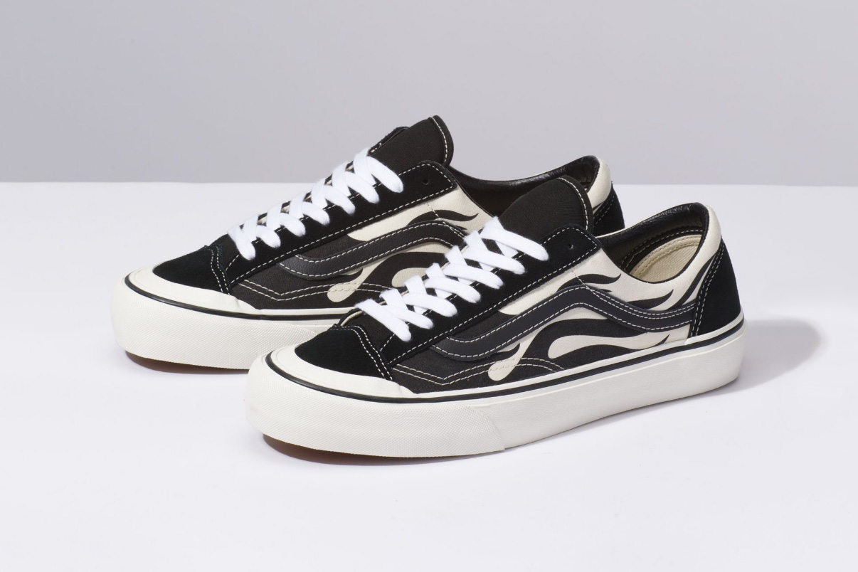 vans style 36 flame black low top sf waffle skate shoe white canvas rubber drop release date info buy sell