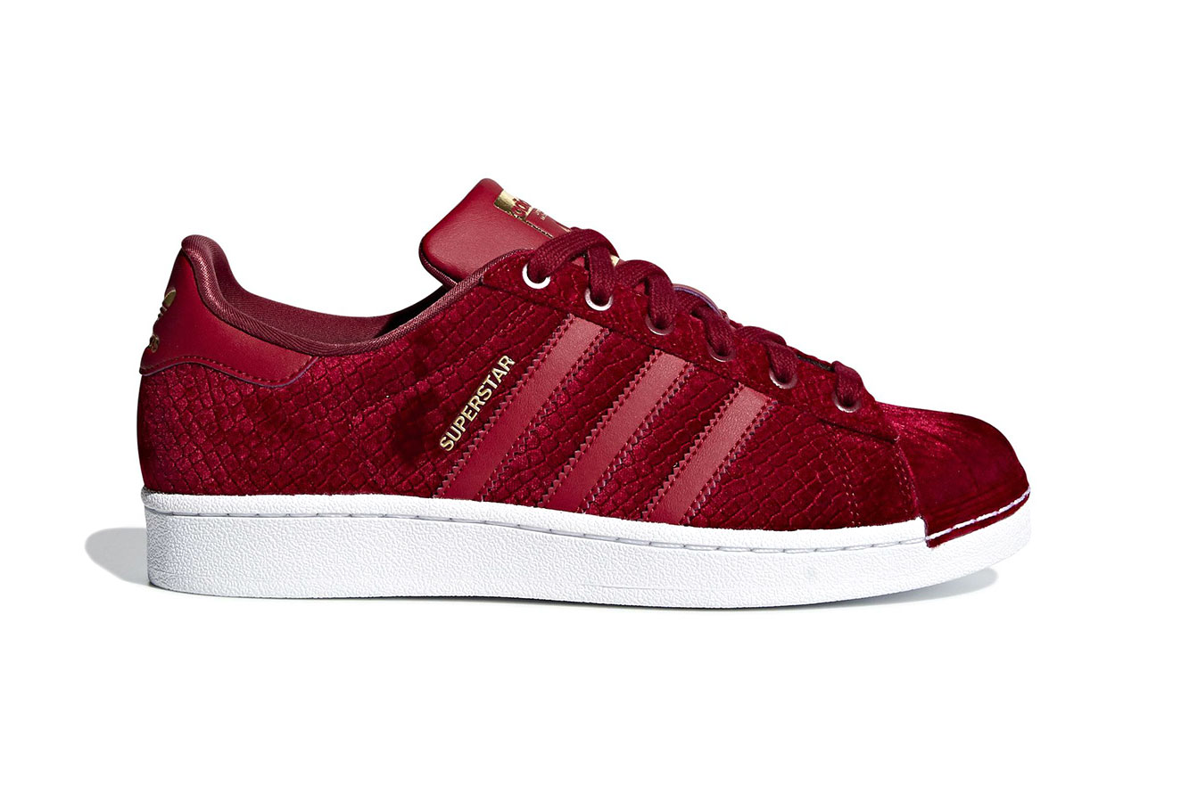 "adidas Superstar ""Satin/Snakeskin"" Release Date november 2018 Noble Maroon Gold Luxury"