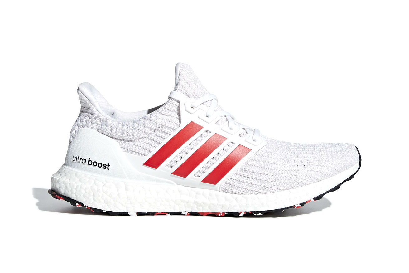 "adidas UltraBOOST 4.0 marble print outsoles ""Active Red/Chalk White"" release date price info sneaker red white black colorway"