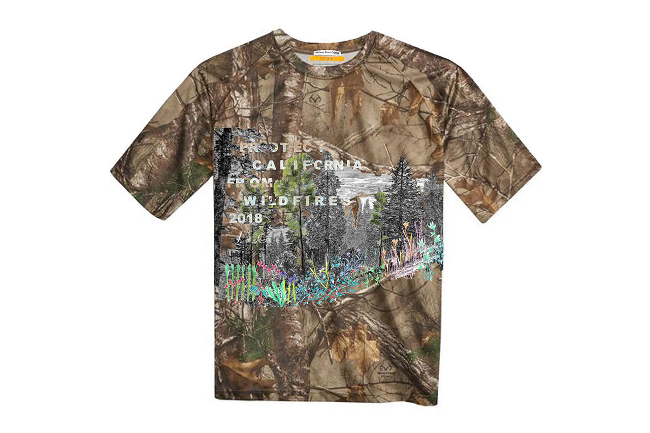 Advisory Board Crystals union los angeles la lafd fire department wildfires tee shirt benefit charity shirt collaboration drop exclusive 24 hours pre order buy drop release camouflage glitter