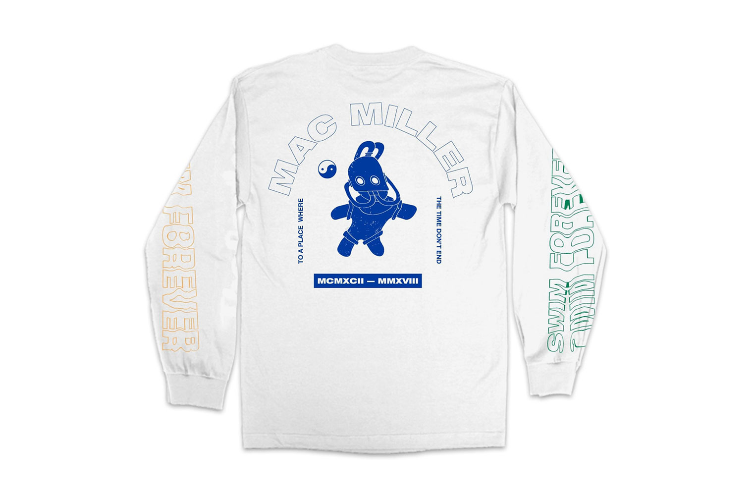 John Mayer Swim Forever Mac Miller T-Shirt Jeremy Dean A Celebration of Life Long sleeve White