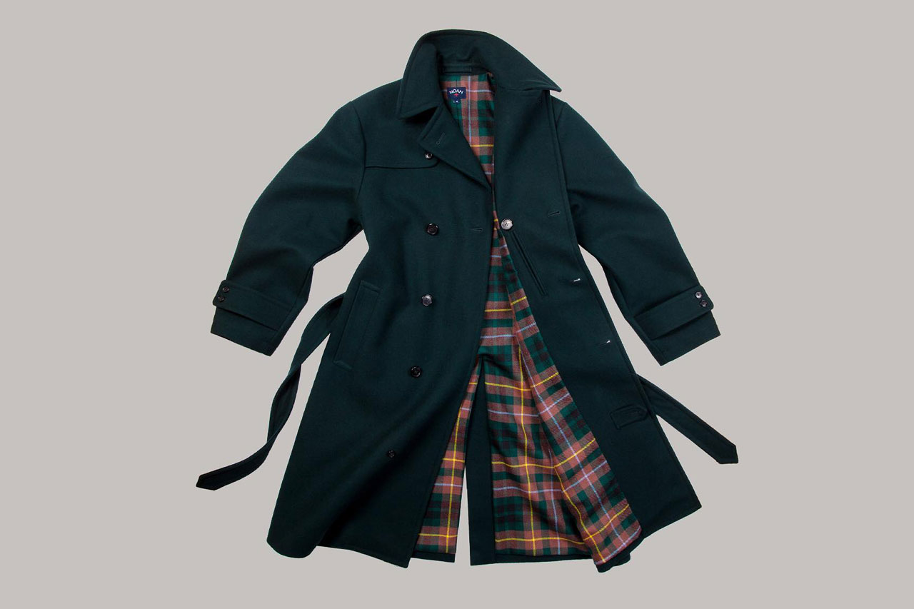 NOAH trench coat loro piana storm system wool tartan plaid lined 1200 usd november 29 2018 release date drop info buy navy italy