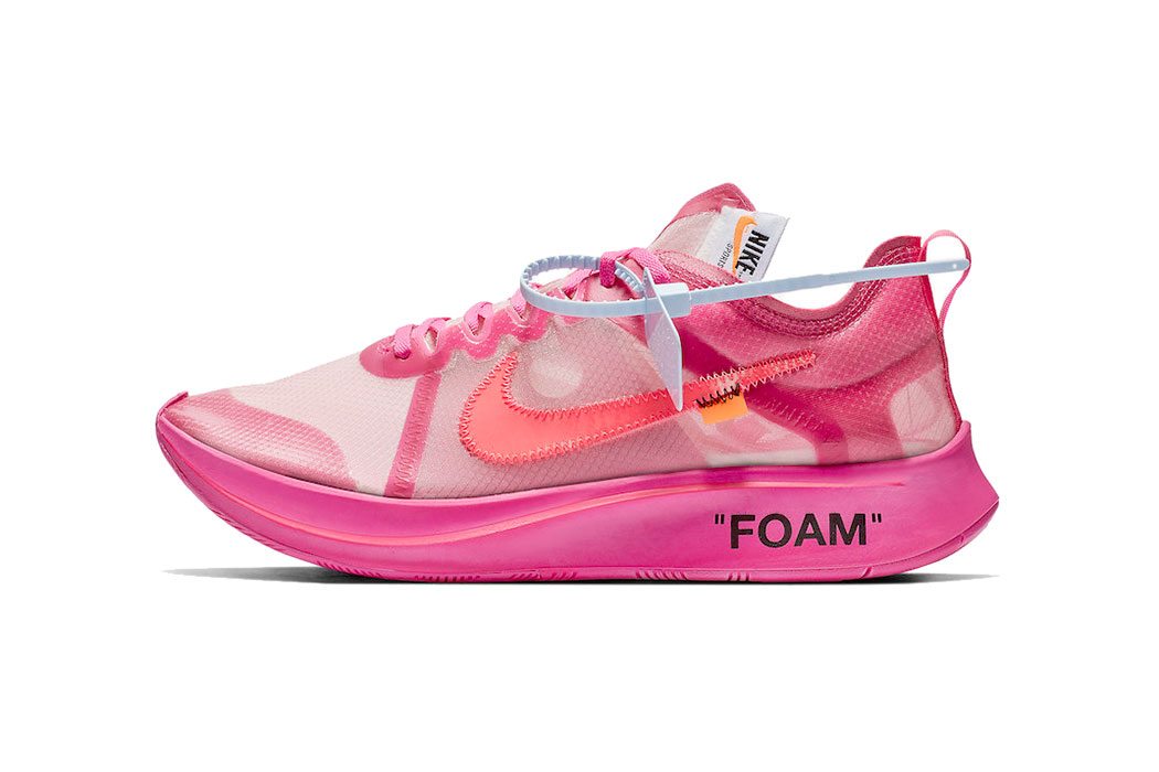 Off-White™ x Nike Zoom Fly 'Tulip Pink' and 'Black'