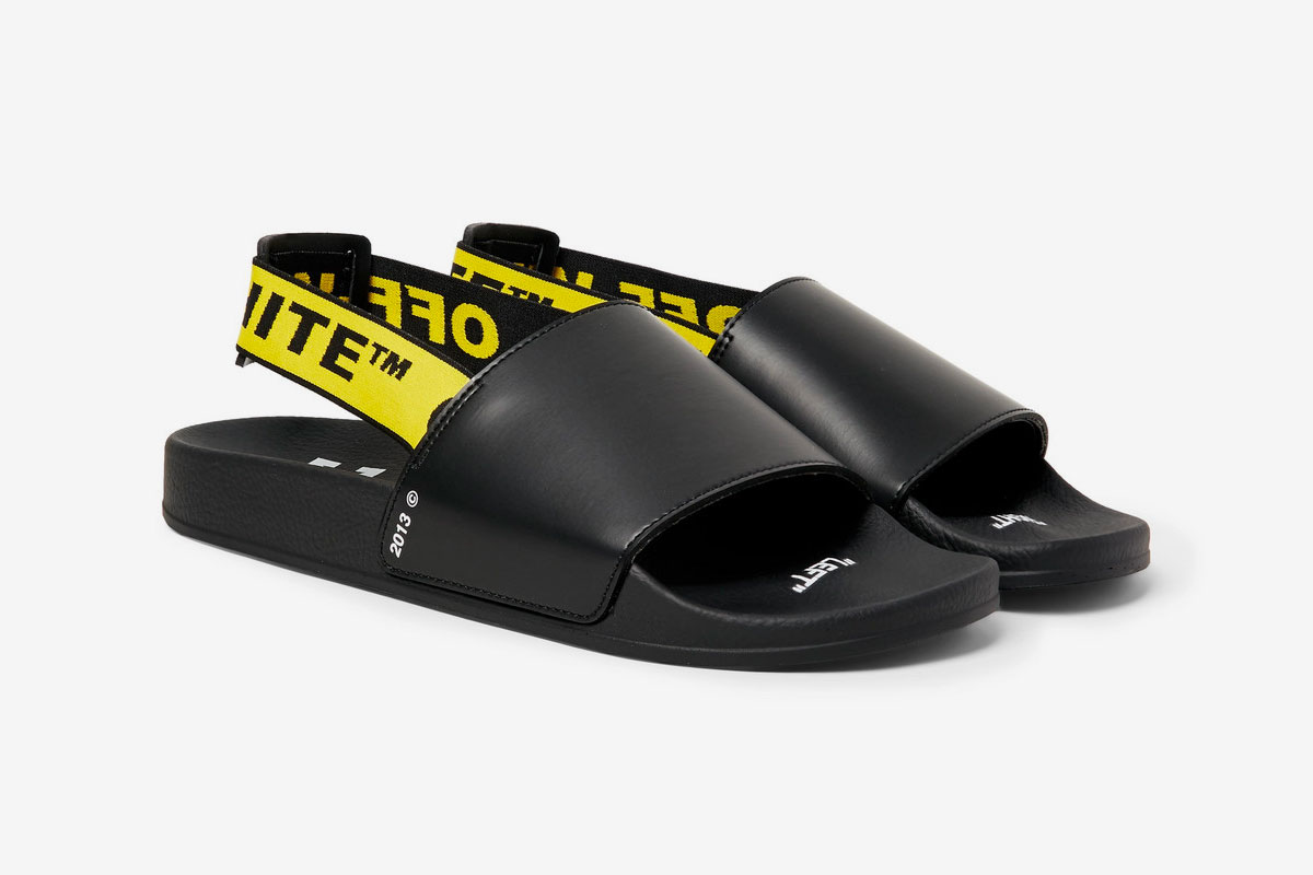 Off White Printed Leather Slides Release Black Belt Webbing Yellow White Virgil Abloh