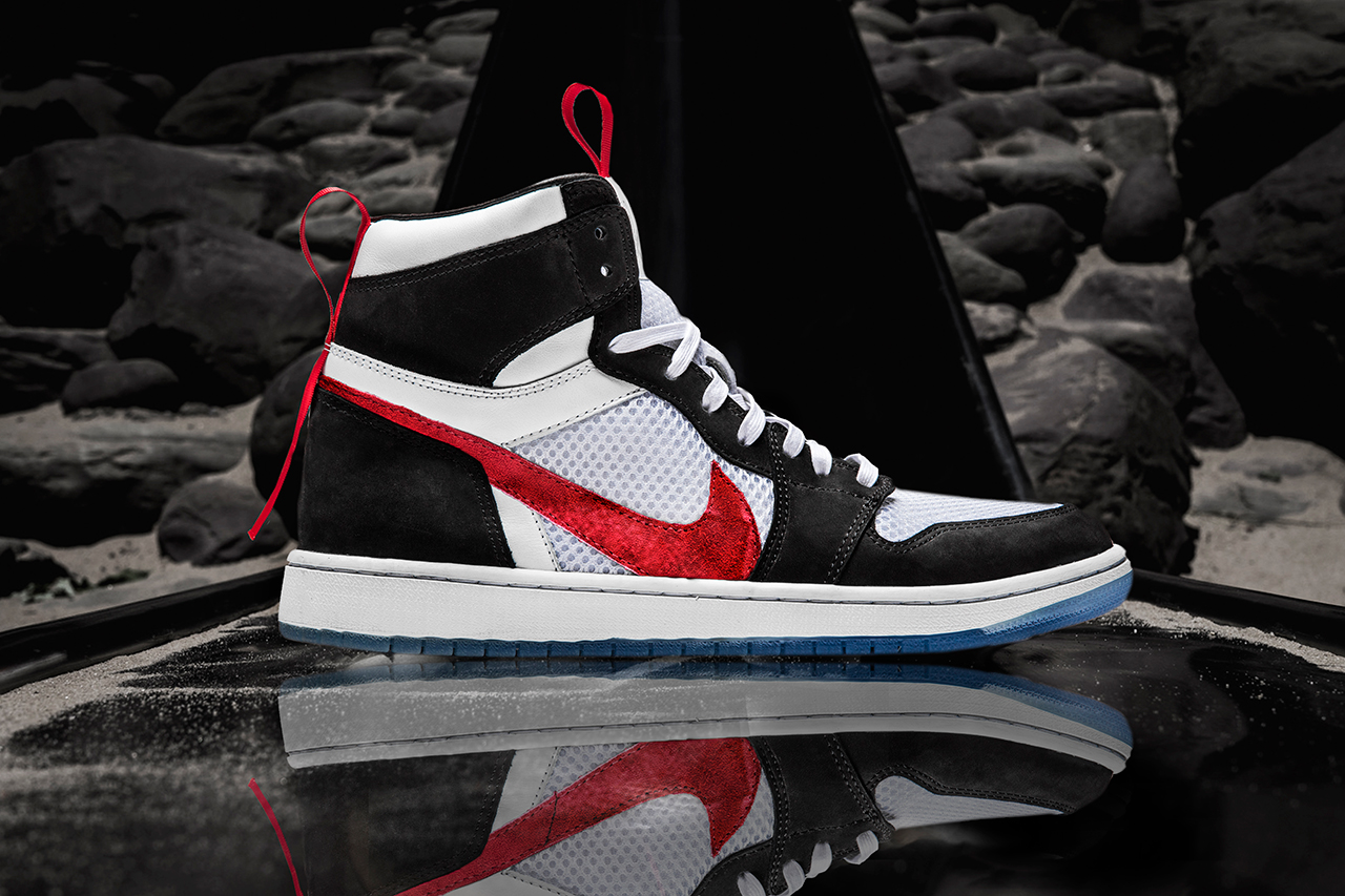 Shoe Surgeon Nike Mars Yard Air Jordan 1 Custom Black Red White Mesh