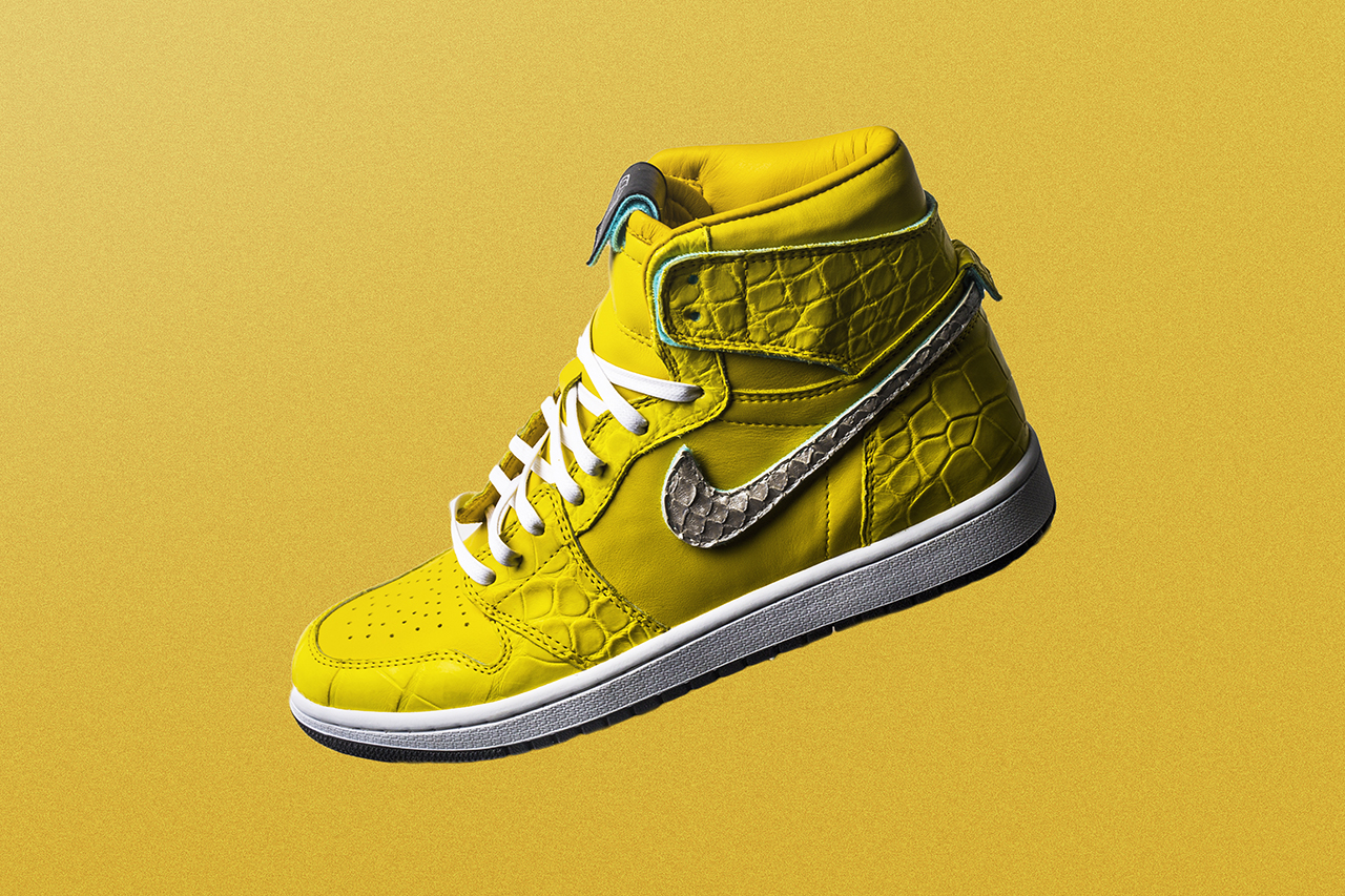 The Shoe Surgeon air jordan 1 nike canary yellow diamond supply co dunk low yellow sneaker drop release date info buy leather remake custom bespoke handmade