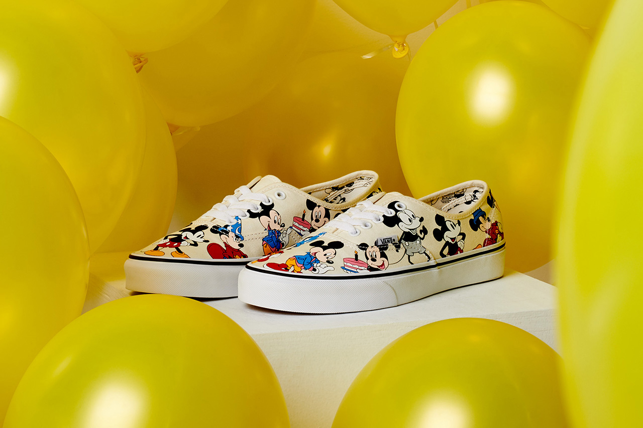 Disney Vans Mickey Mouse Authentic 90th Anniversary Long Sleeve T-shirt Cap Cartoon Character Birthday Special edition sneakers trainers footwear