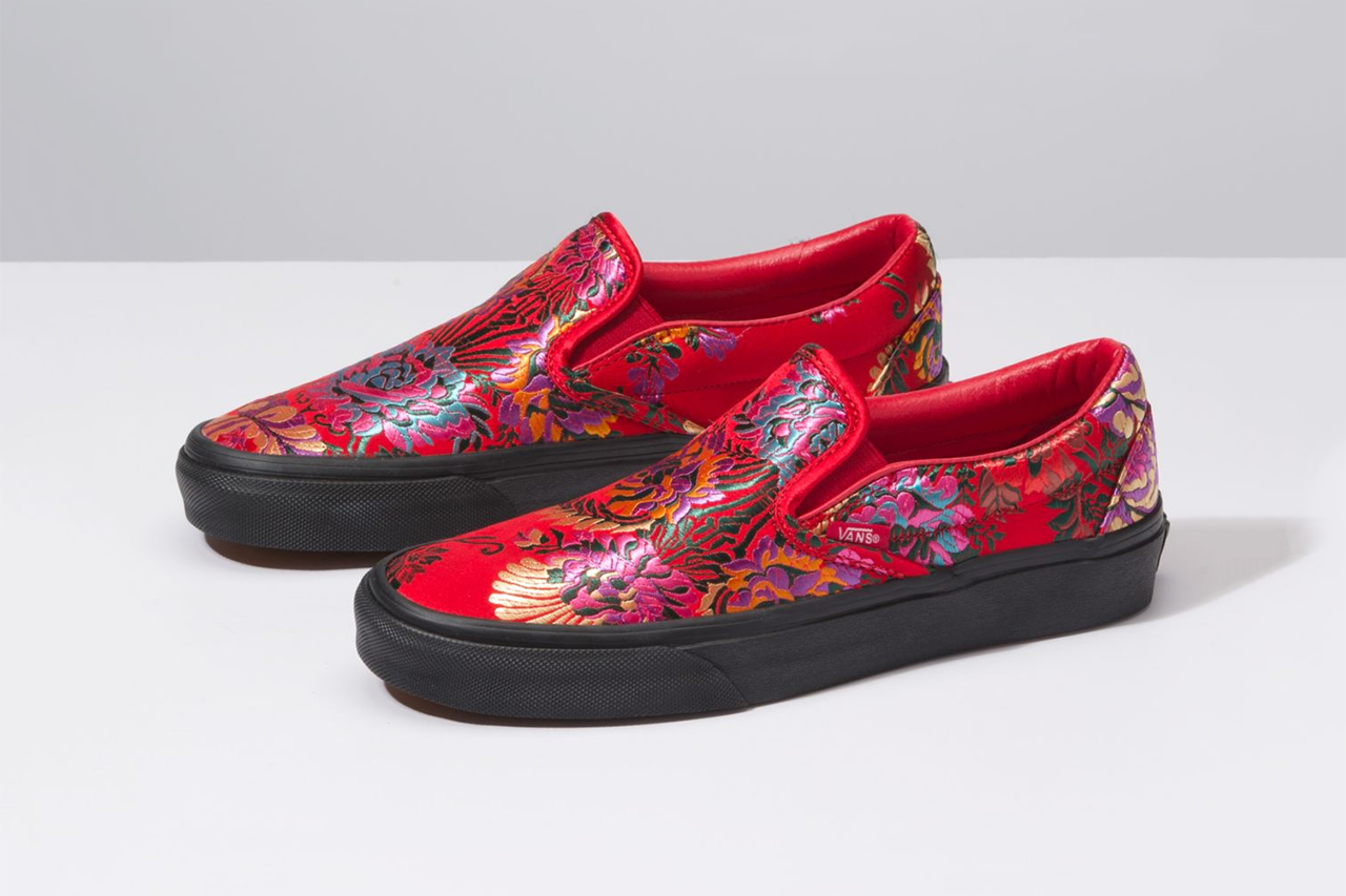 Vans Slip on festival satin embroidery floral flowers design ornate sneakers shoes trainers skating drops release news buy now cop