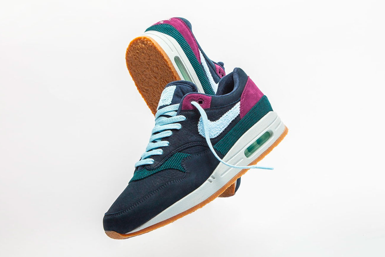 """Nike Air Max 1 Crepe Sole """"Dark Obsidian/Cobalt"""" release date info price purchase online available now stockist sneaker gum sole chenille swoosh"""