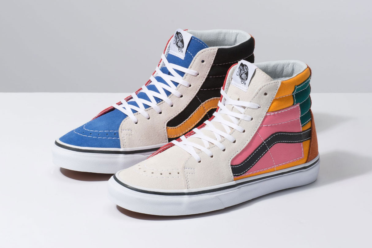 "Vans Sk8-Hi ""Patchwork"" Release Details info colorway stitch multicolor"