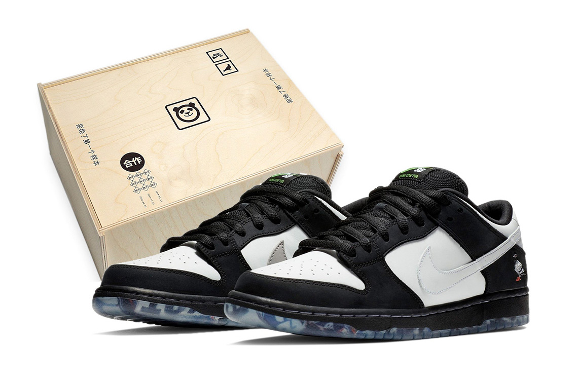 "Nike SB Dunk ""Panda Pigeon"" Wooden Box Package extra butter swoosh"