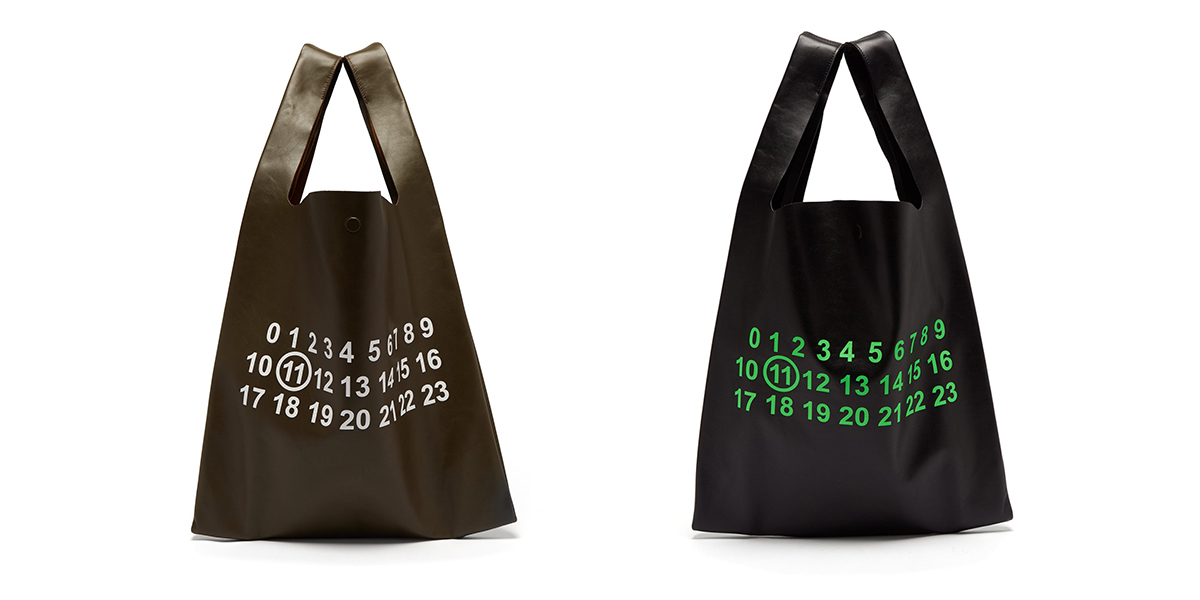 Maison Margiela Leather Logo-Print Tote Bag