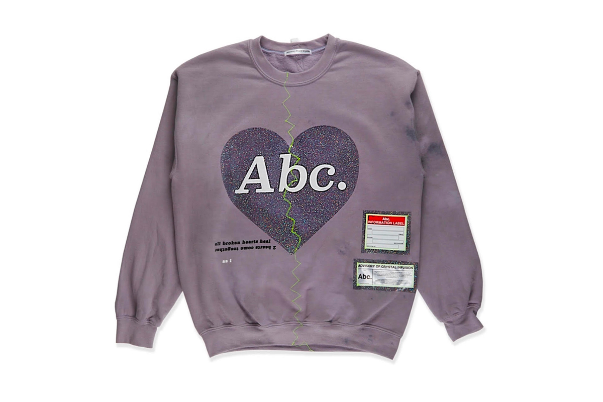 "Advisory Board Crystals Valentine's Day Crewneck ""abc. broken heart"" $155 pricing release info stockist union LA, tokyo patron of the new new york glitter print heart puff print neon green embroidery"