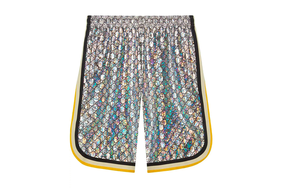Gucci Basketball Shorts Release silver gold yellow white black iridescent