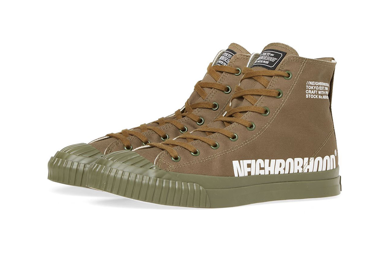 NEIGHBORHOOD SS19 spring summer 2019 gr hi military sneaker shoe colorway green olive drab black white
