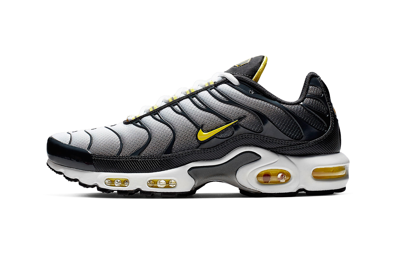 """Nike Electrifies Air Max Plus With """"Bumble Bee"""" Colorway grey black yellow footwear release drop date images price info"""