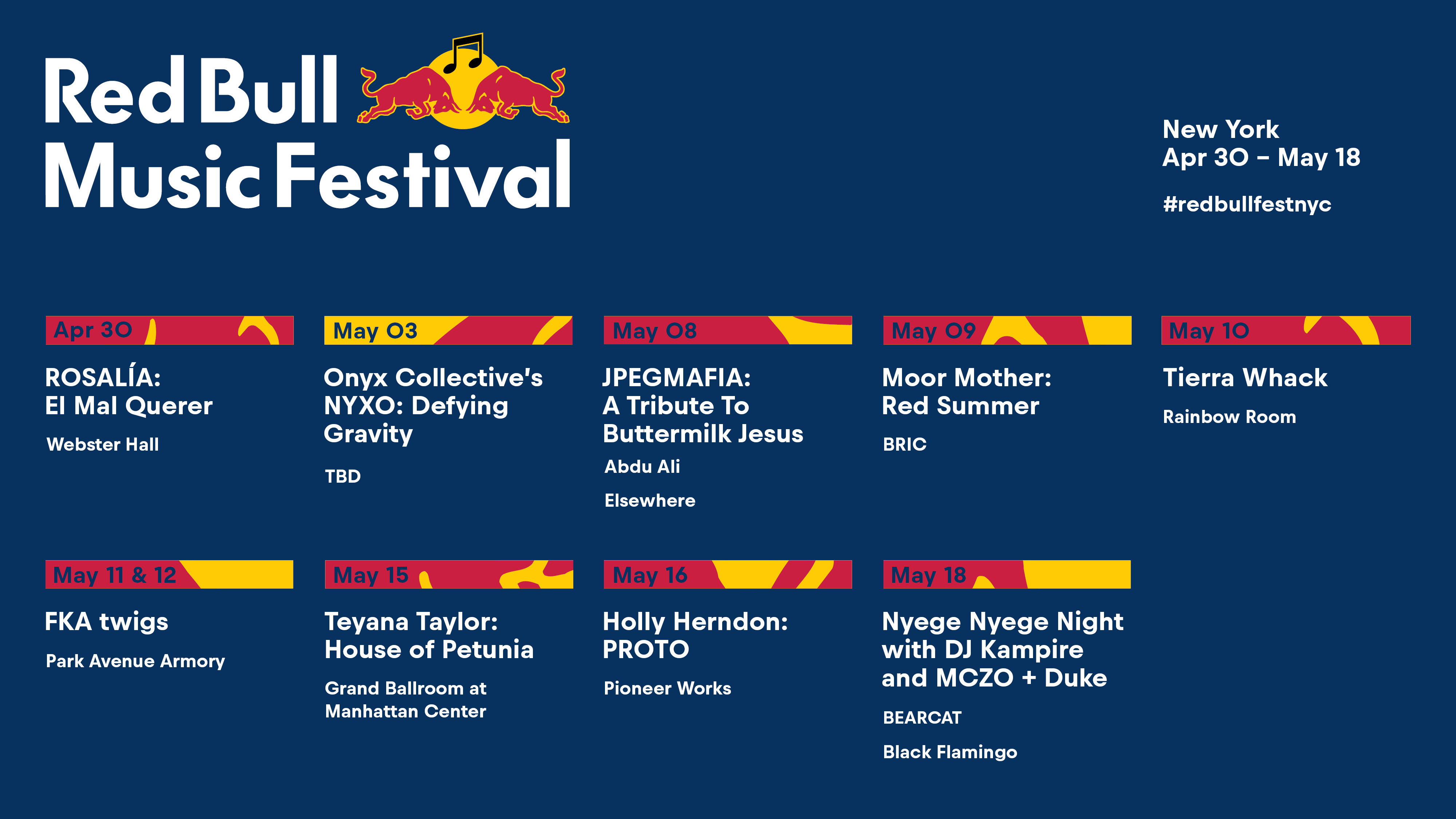 FKA twigs Tierra Whack Red Bull Music Festival New York 2019 lineup Rosalía JPEGMAFIA Onyx Collective Moor Mother Teyana Taylor Holly Herndon