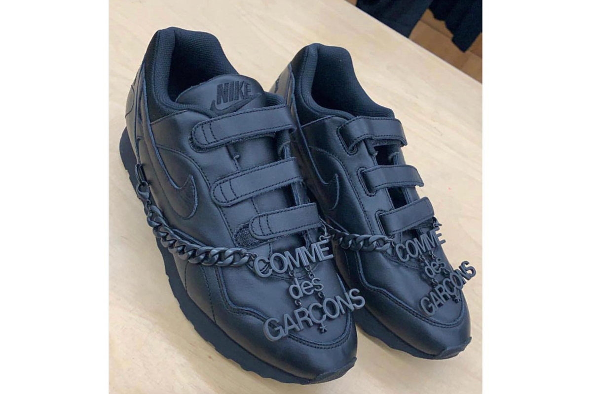 Nike x COMME des GARÇONS Velcro Sneaker first look release info stockist teaser fall/winter 2019 fw19 black tonal colorway