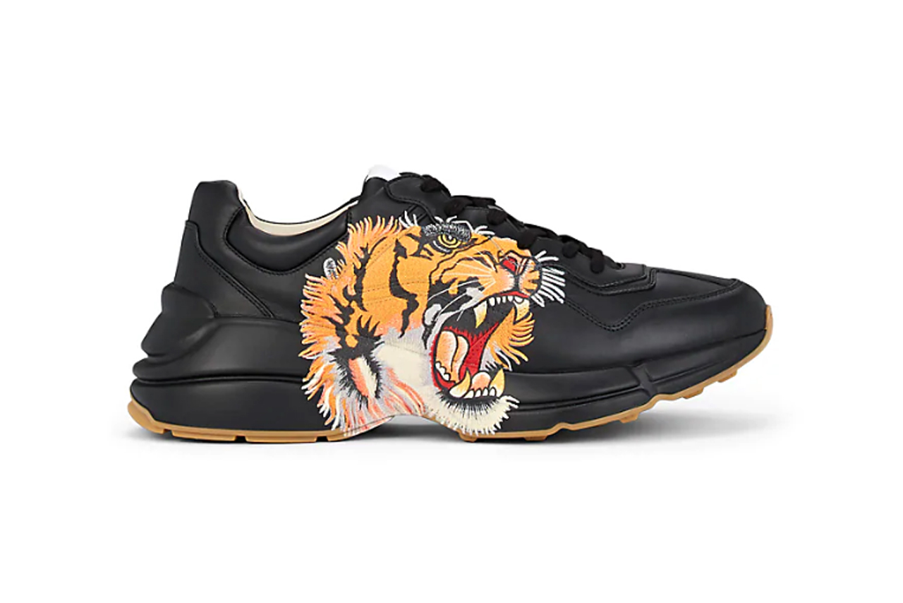 Gucci Rhyton tiger print black leather sneakers