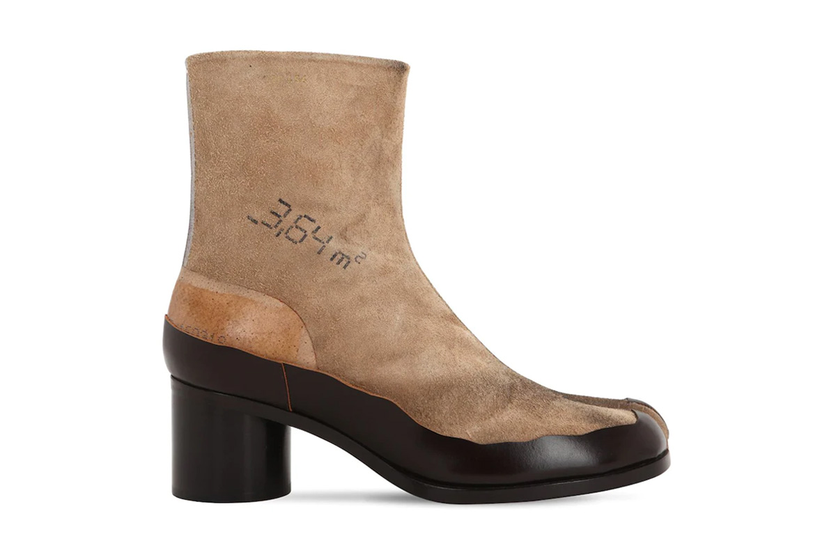 Maison Margiela 60mm Tabi Distressed Suede Boots horse hooves made in italy 69I-LAI003 cow sheep rubber leather side hook closure split toe